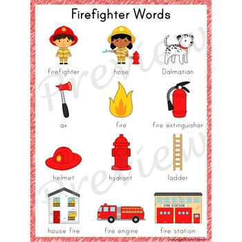 Writing Center Word List ~ Firefighter Words