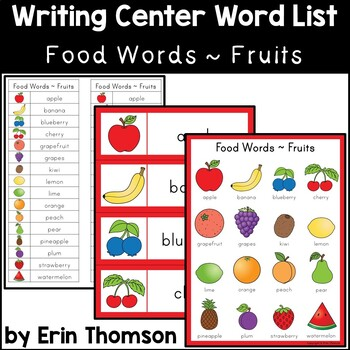 Writing Center Word List ~ Food Words {Fruits}