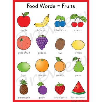 Writing Center Word List ~ Food Words {Fruits} | TpT