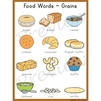 Writing Center Word List ~ Food Words {Grains}