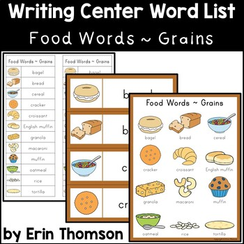 Writing Center Word List ~ Food Words {Grains} | TpT