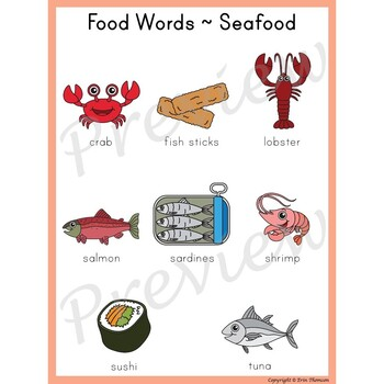 Writing Center Word List ~ Food Words {Seafood}