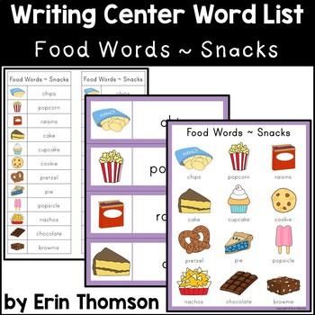 Writing Center Word List ~ Food Words {Snacks}