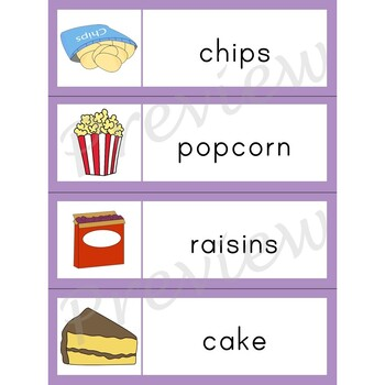 Writing Center Word List ~ Food Words {Snacks}