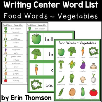 Writing Center Word List ~ Food Words {Vegetables}