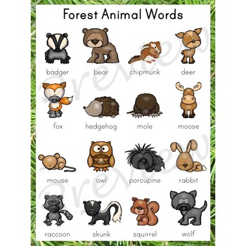 Writing Center Word List ~ Forest Animal Words