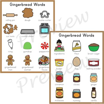 Writing Center Word List ~ Gingerbread Words