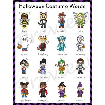 Writing Center Word List ~ Halloween Costume Words