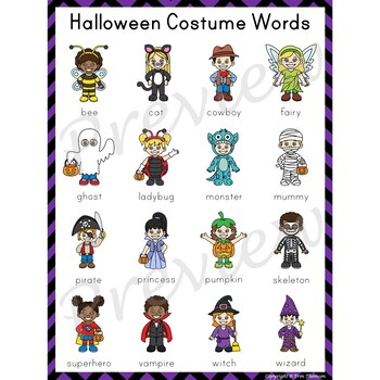 Writing Center Word List ~ Halloween Costume Words