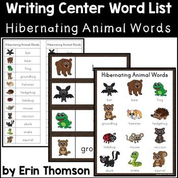 Writing Center Word List ~ Hibernating Animal Words
