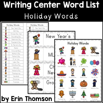 Writing Center Word List ~ Holiday Words FREE SAMPLE