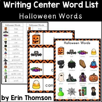 Writing Center Word List ~ Holiday Words {Halloween}