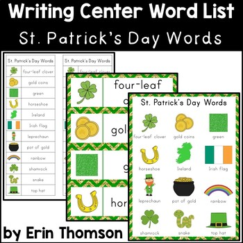 Writing Center Word List ~ Holiday Words {St. Patrick's Day}