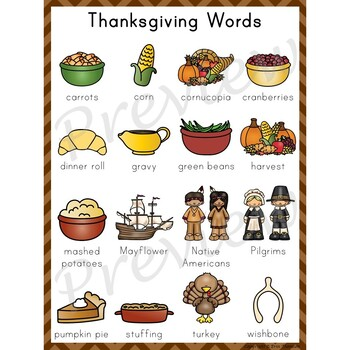 Writing Center Word List ~ Holiday Words {Thanksgiving}