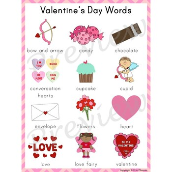 Writing Center Word List ~ Holiday Words {Valentine's Day}