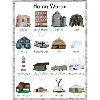 Writing Center Word List ~ Home Words