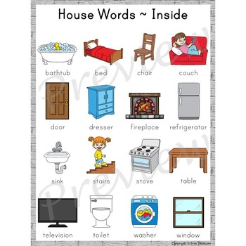 Writing Center Word List ~ House Words {Inside}