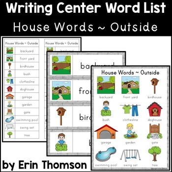 Writing Center Word List ~ House Words {Outside}