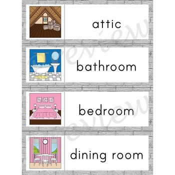Writing Center Word List ~ House Words {Rooms}