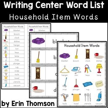 Writing Center Word List ~ Household Item Words