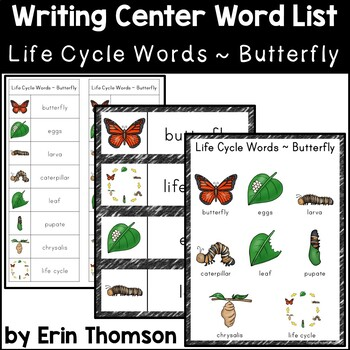 Writing Center Word List ~ Life Cycle Words {Butterfly}