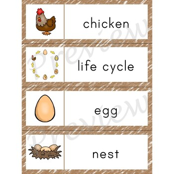 Writing Center Word List ~ Life Cycle Words {Chicken}