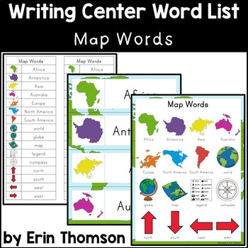 Writing Center Word List ~ Map Words