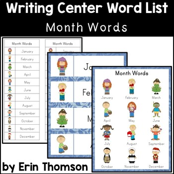 Writing Center Word List ~ Month Words