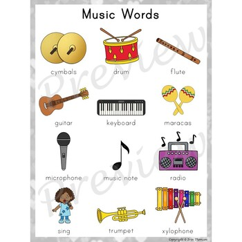 Writing Center Word List ~ Music Words