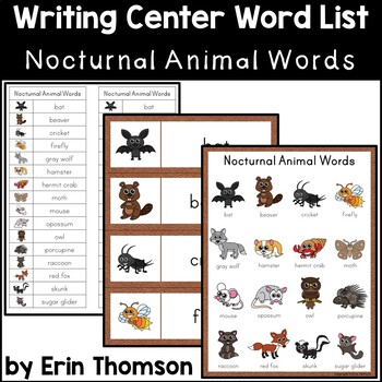 Writing Center Word List ~ Nocturnal Animal Words | TpT