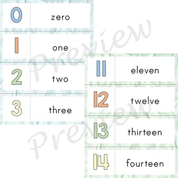 Writing Center Word List ~ Number Words