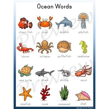 Writing Center Word List ~ Ocean Words