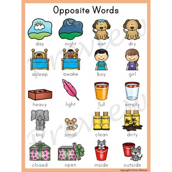 Writing Center Word List ~ Opposite Words