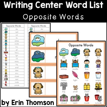 Writing Center Word List ~ Opposite Words by Erin Thomson ...