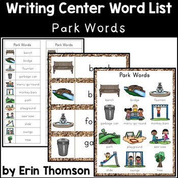 Writing Center Word List ~ Park Words