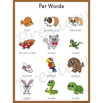 Writing Center Word List ~ Pet Words