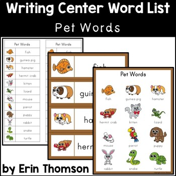 Writing Center Word List ~ Pet Words