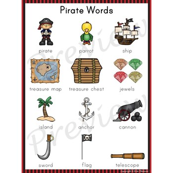 Writing Center Word List ~ Pirate Words