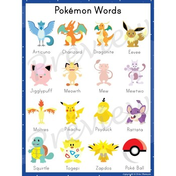 Writing Center Word List ~ Pokémon Words