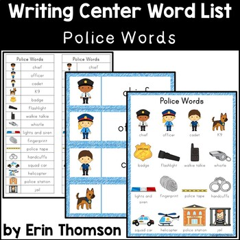 Writing Center Word List ~ Police Words