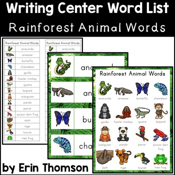 Writing Center Word List ~ Rainforest Animal Words