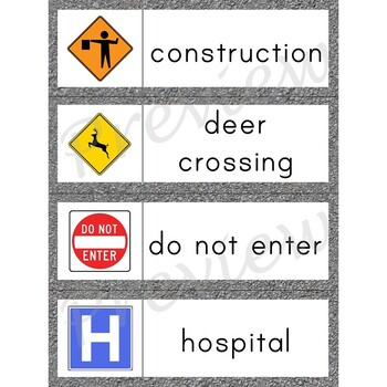 Writing Center Word List ~ Road Sign Words