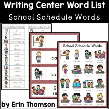 Writing Center Word List ~ School Schedule Words
