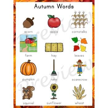 Writing Center Word List ~ Season Words {Autumn}