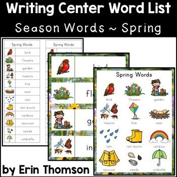 Writing Center Word List ~ Season Words {Spring}