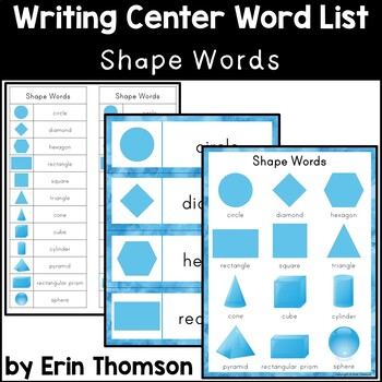 Writing Center Word List ~ Shape Words