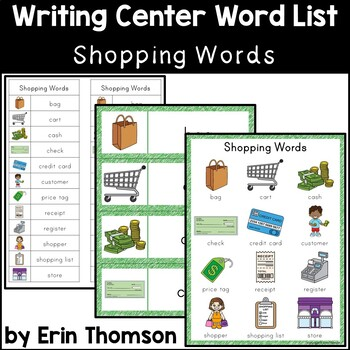 Writing Center Word List ~ Shopping Words