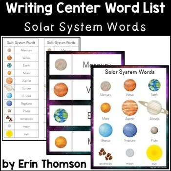 Writing Center Word List ~ Solar System Words