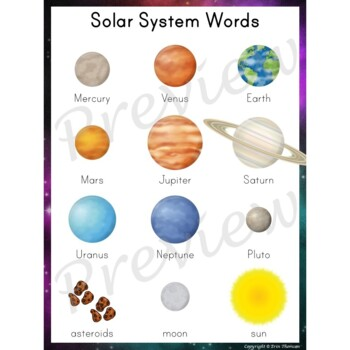 Writing Center Word List ~ Solar System Words