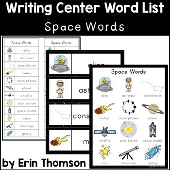 Writing Center Word List ~ Space Words